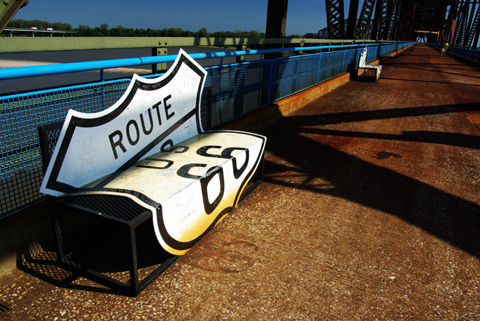 Route 66 shield bench on the Chain of Rocks Bridge, MO