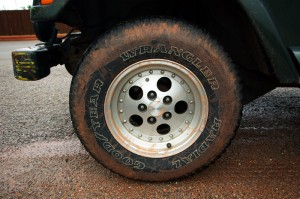 red Oklahoman mud on Jeep tire