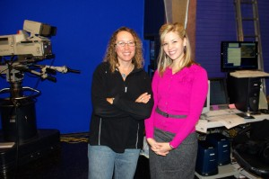 with weather person Shelly Siets, in KVII studio