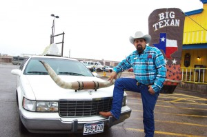 Big Texan manager Mike Magill and the free long-horned shuttle limo