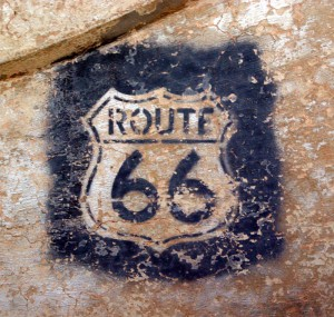Route 66 shield stenciled on Dead River Bridge
