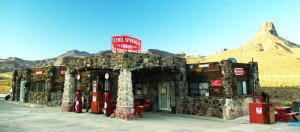 restored gas station at Cool Springs, AZ