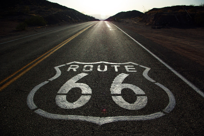 the Route 66 shield at Cadiz Summit, CA