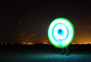spinning poi on the Salton Sea