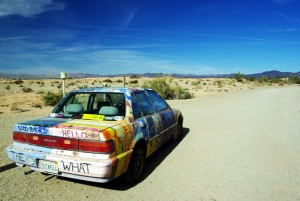 Charlie's car and his desert view