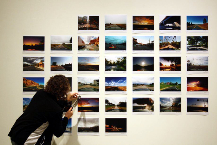 installing the time lapse Route 66 photo grid at the AGw (photo credit: Craig Wells)