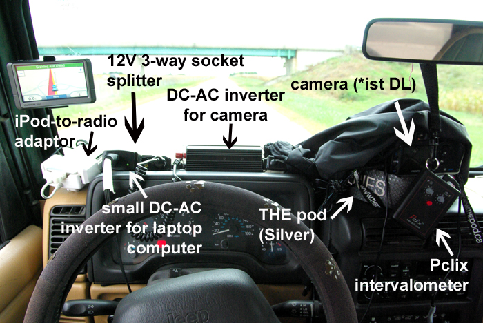 the gear setup for doing time-lapse shooting while driving