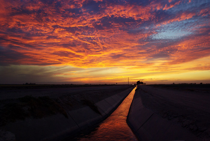 irrigation canal under Imperial Valley sunset