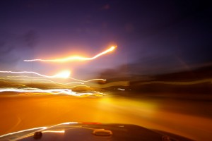 blur from photo taken while rounding a corner at night in LA