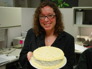 happy in the cubicle on this particular day, because colleague Leonard made me a glorious birthday cake!
