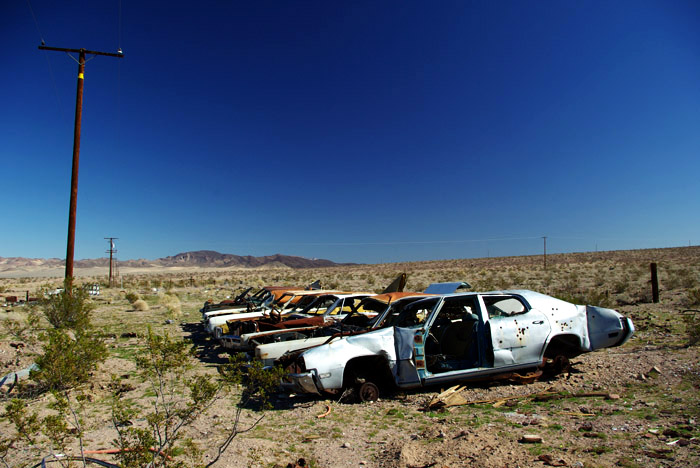 someone lined these old cars up in the middle of nowhere; the Marines' training grounds are somewhere off to the right