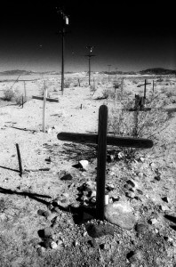 unmarked crosses at the Ludlow cemetery